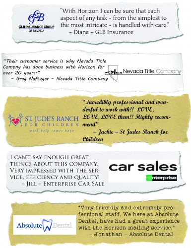 Rave Reviews from Happy Horizon Print Solutions Customers